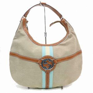 Auth Gucci Light Brown Canvas Large Hobo #3284G13